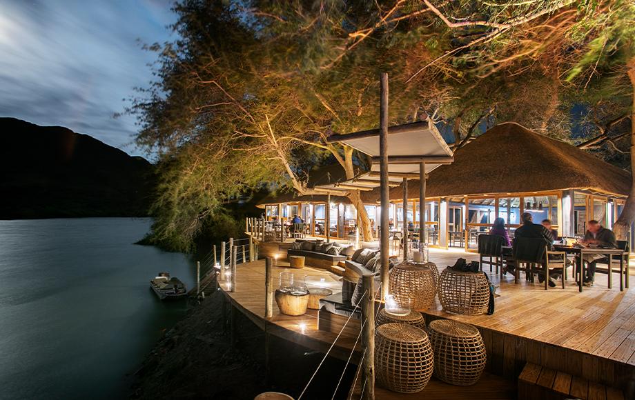 Serra Cafema Lodge at night