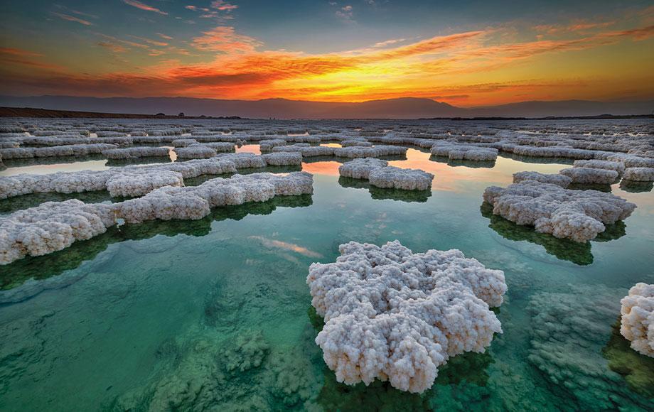 Salt rocks on the Dead Sea in Jordan