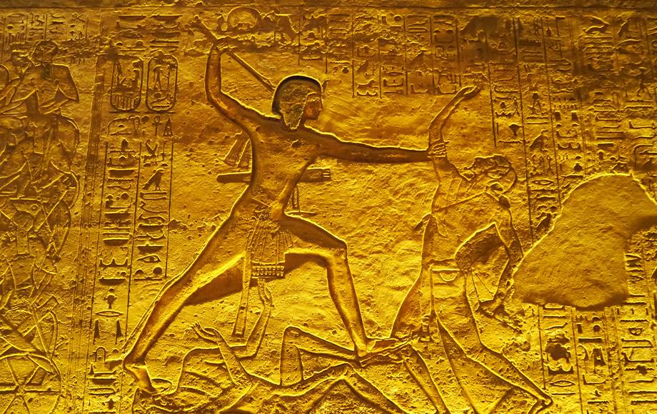 Hieroglyphs inside the Temple of Ramses