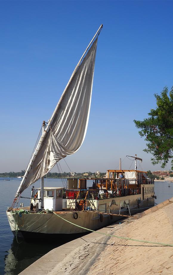 The Princess Grace Dahabiya docked along the Nile