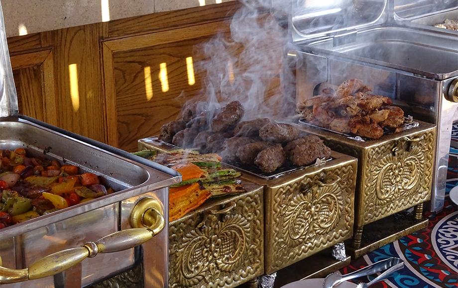 Food cooked on board the Princess Grace Dahabiya