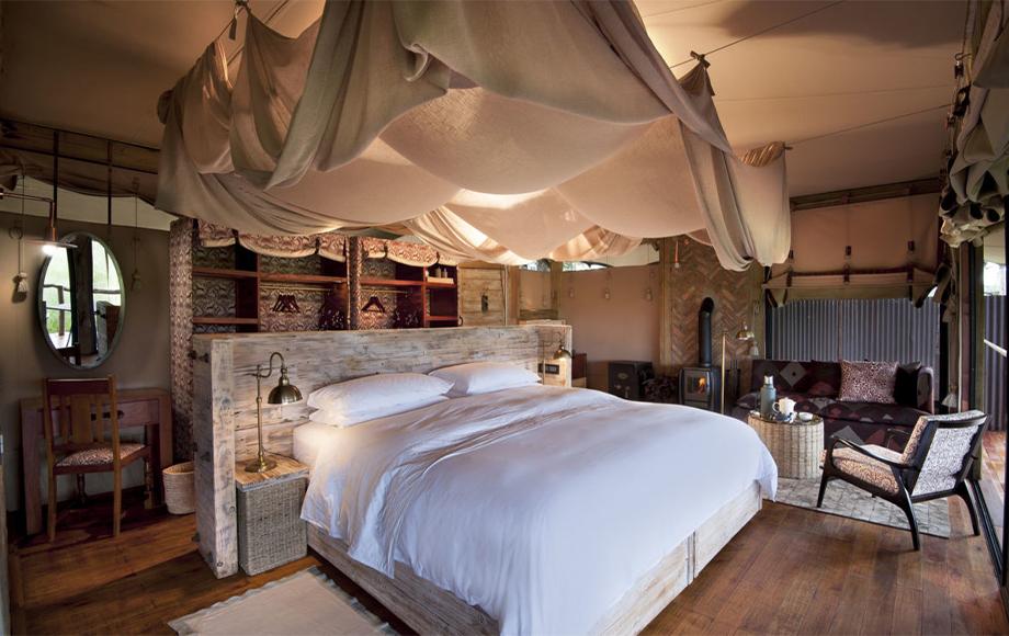 Bedroom at Luxury Somalisa Camp in Hwange National Park in Zimbabwe