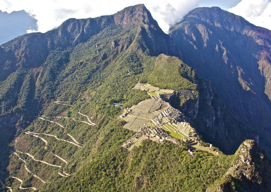 View from Huayna Picchu looking down onto Machu Picchu