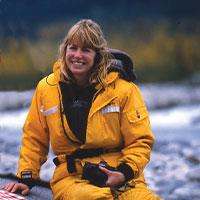 Sara in boat in Alaska