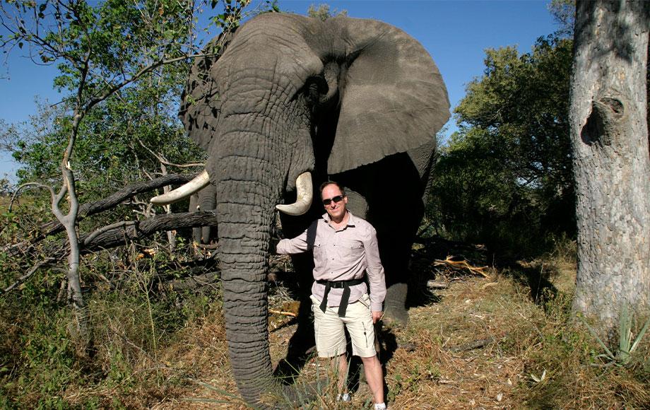 Steve next to elephant