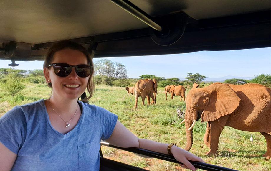 Jess with elephants in Samburu