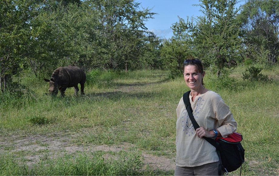 kate in Zamabia next to White Rhino
