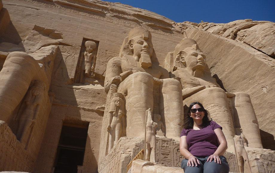 Natasha standing in front of Abu Simbel in Egypt