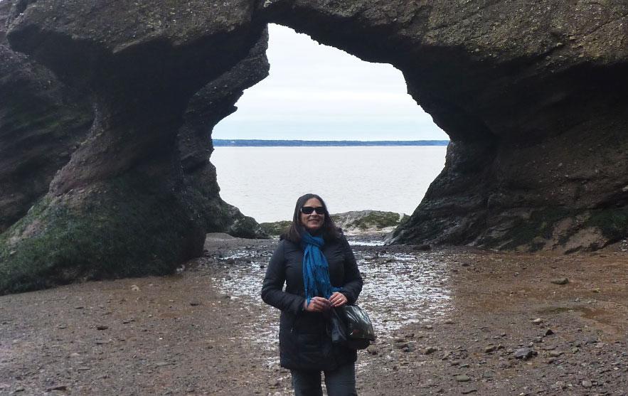 Natasha at Hopewell Rocks in Canada