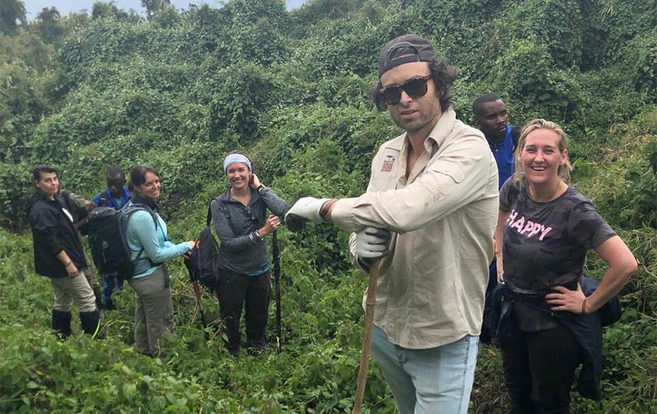 Michael in Rwanda trekking for Gorillas