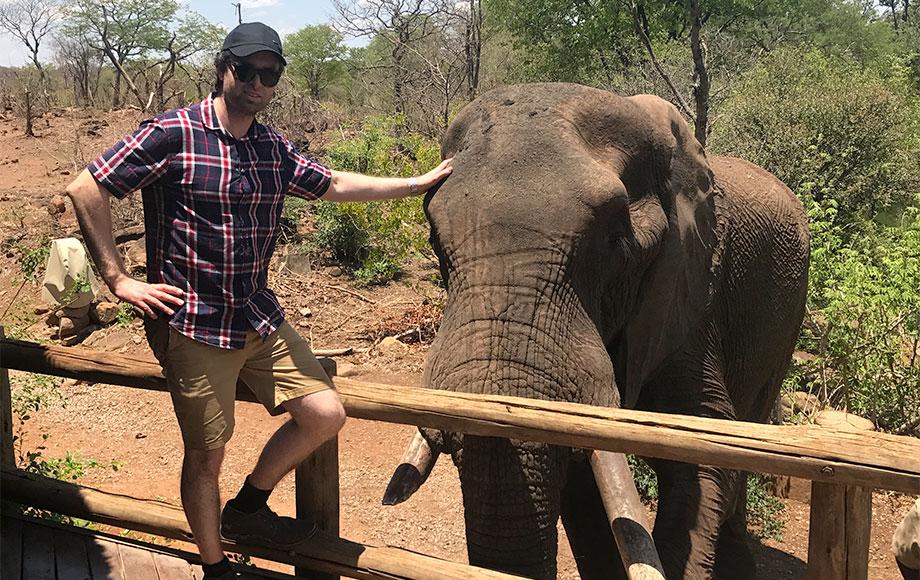 Michael patting Elephant
