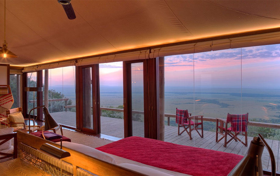 Luxury Angama Mara suite with view of the Rift Valley Escarpment