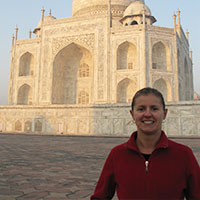 Carolyn at the Taj Mahal in Agra, India