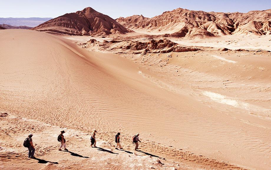 People walking in the Atacama Desert in Chile