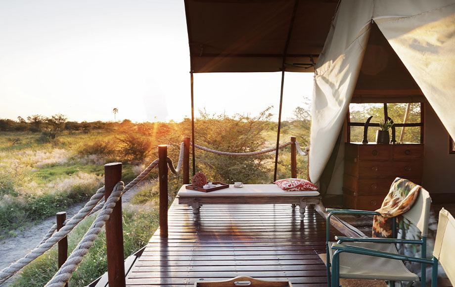 Camp Kalahari Bedroom tent at sunrise
