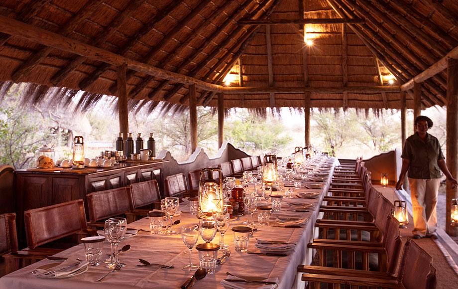 Camp Kalahari getting ready for dinner