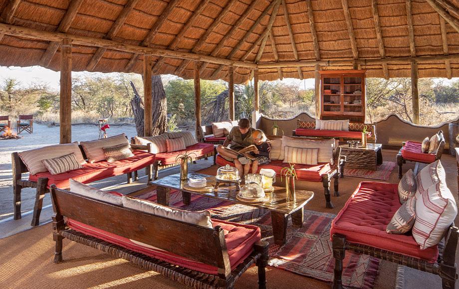 Camp Kalahari reading in the lounge