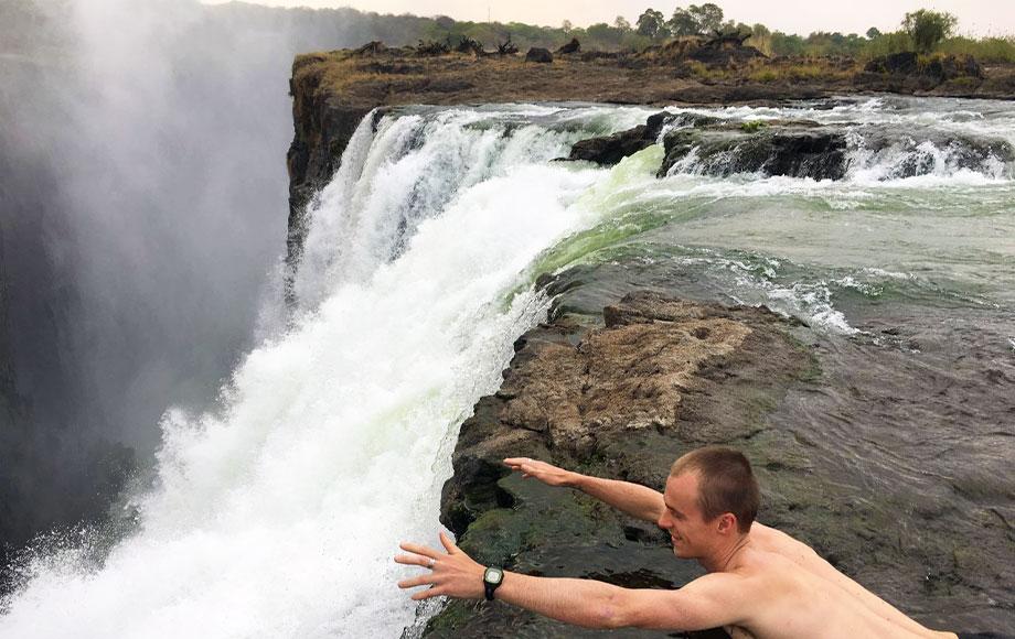 Jeremy in Devils Pool at Victoria Falls