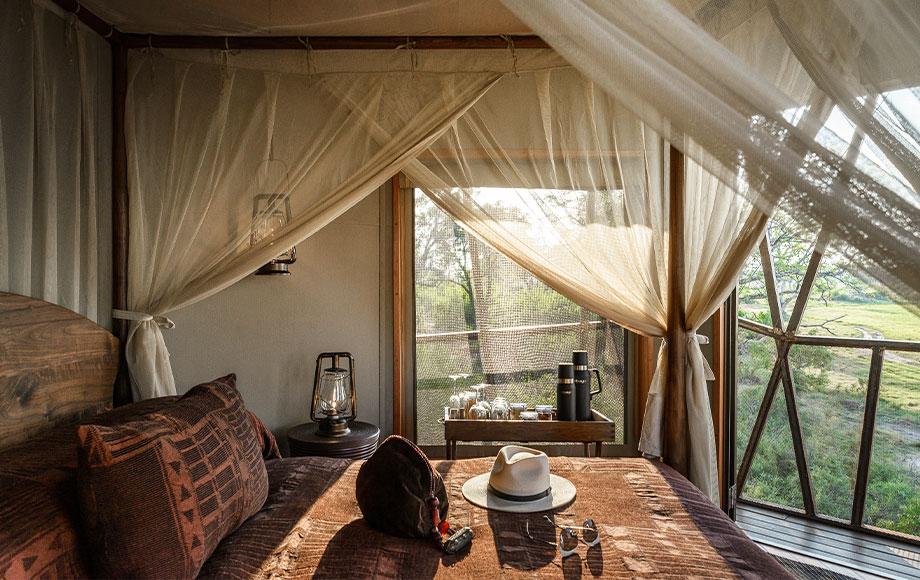 Luxury bedroom at Xigera Lodge