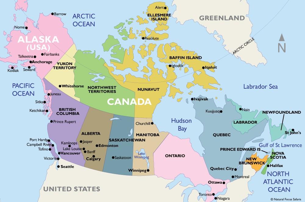 Alaska Canada Map Canada & Alaska Tours and Cruises   Natural Focus