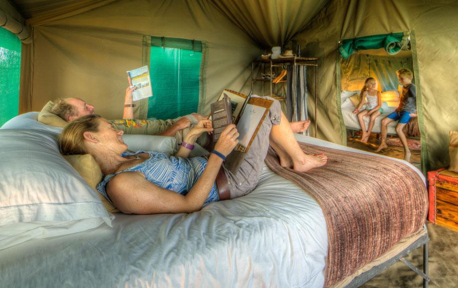 Tented camping safari in Botswana