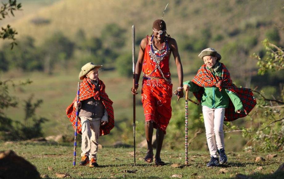 Masai Warrior with children