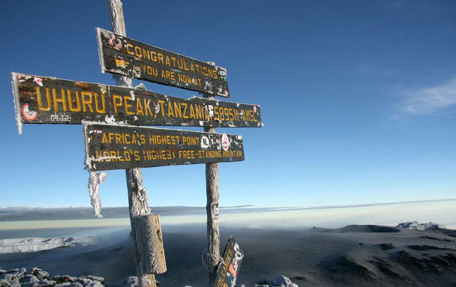 Sign at the top of Mount Kilimanjaro