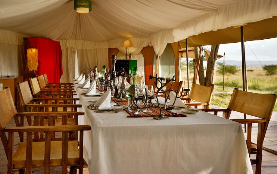 Dining Table at Rustic Lemala Eawnjan in Tanzania
