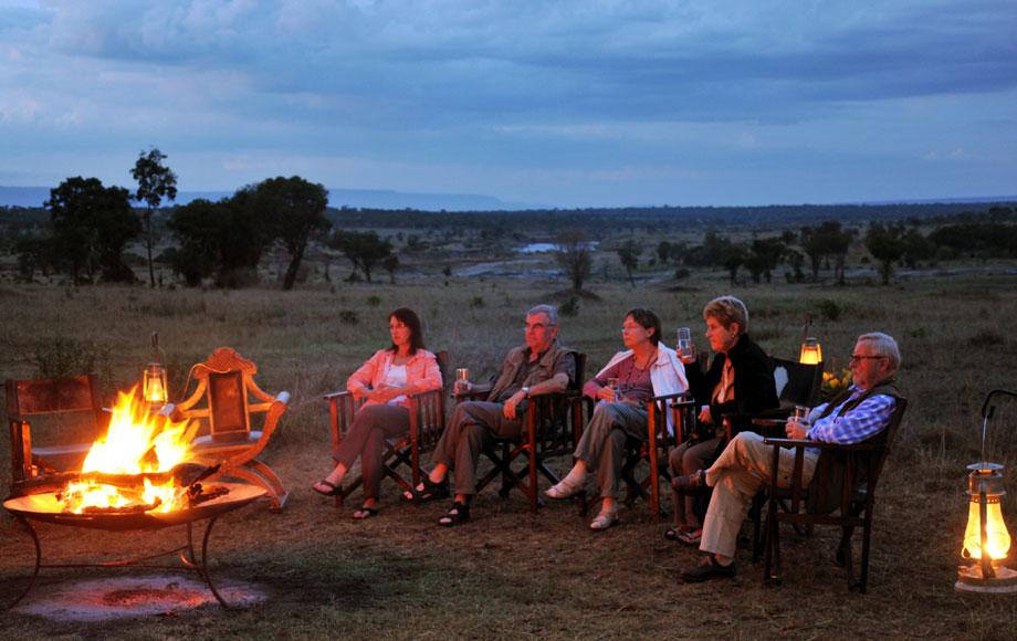 Camp fire at luxury Lemala Mara in Tanzania