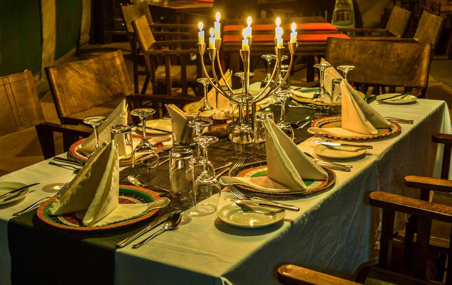 Luxury Lemala Ngorongoro dining room in Tanzania