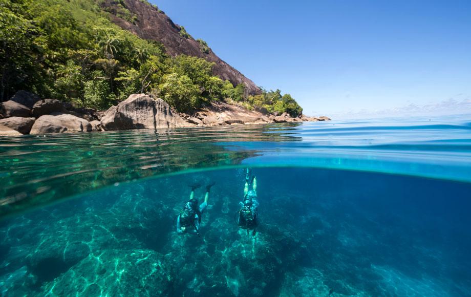 Swimming at North Island Seychelles
