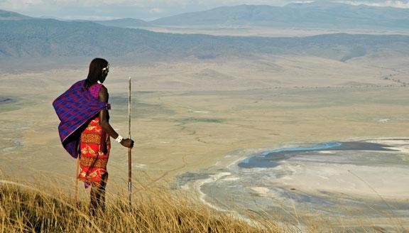Masai Warrior standing on the Ngorongoro Crater Rim