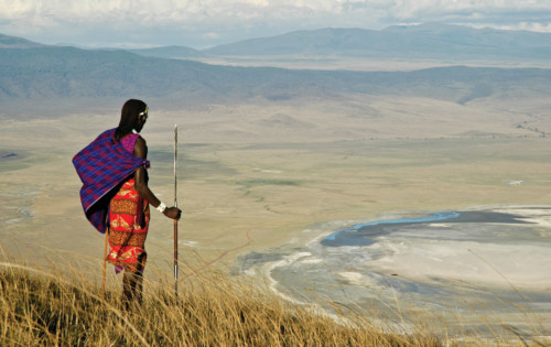 Masai Warrior standing on the Ngorongoro Crater Rim